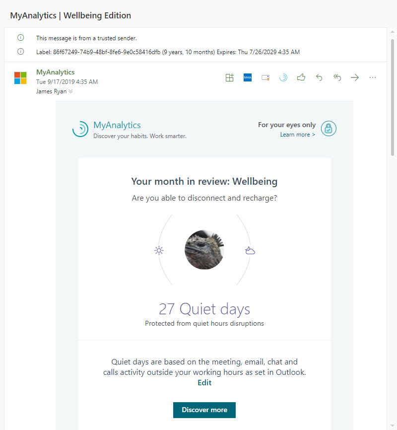 """A MyAnalytics """"Wellbeing"""" Email"""
