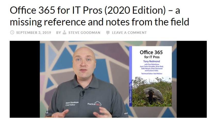 Practical365.com reviews the Office 365 for IT Pros eBook