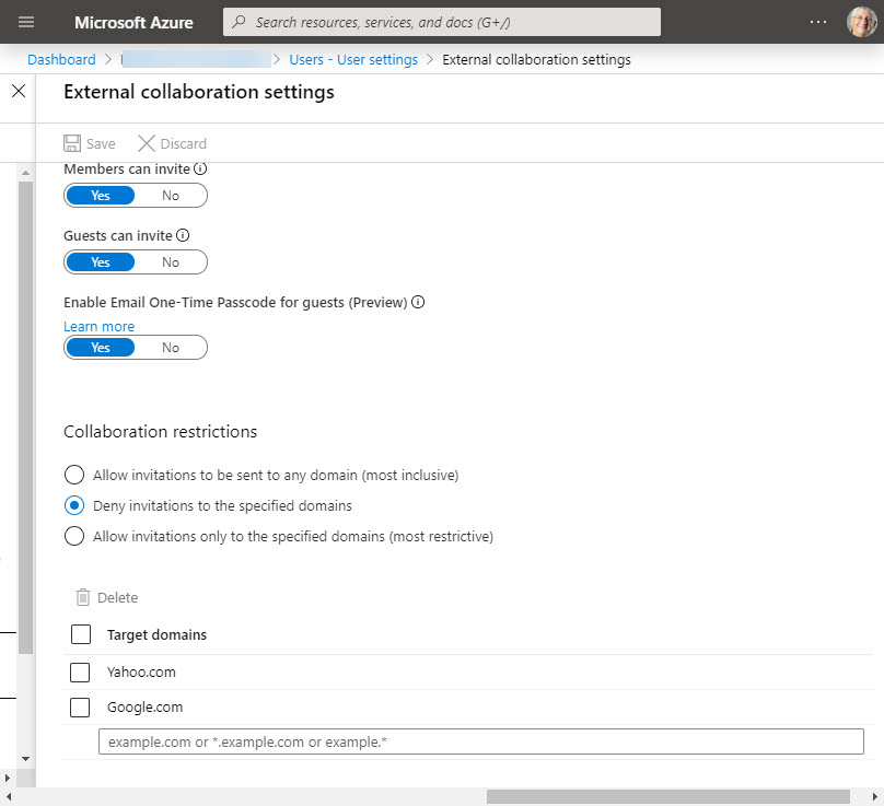 Azure Active Directory External Collaboration settings
