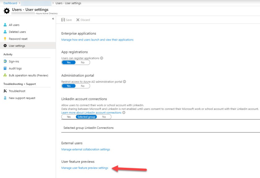 User settings in the Azure Active Directory portal