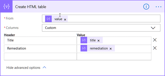 Creating a HTML table in Flow