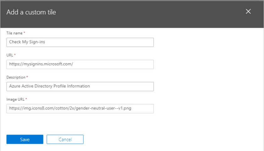 Create a custom Office 365 tile to point to the Azure Active Directory sign-in page