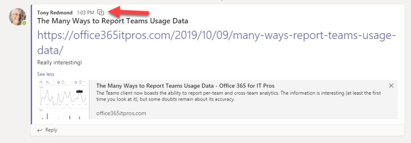 How to know if a Teams message is cross-posted