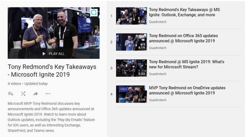 YouTube videos from the Microsoft Ignite 2019 conference