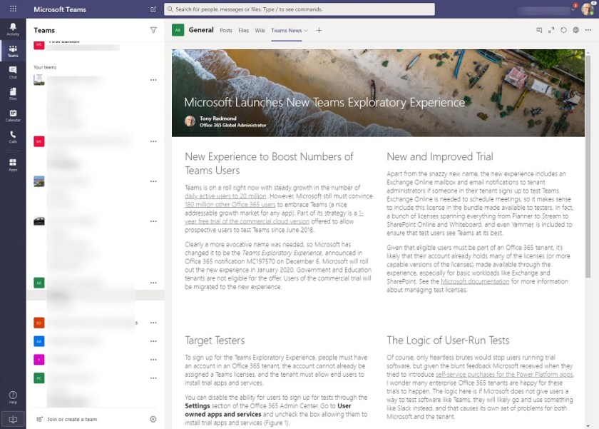 Teams displays content from a different SharePoint site