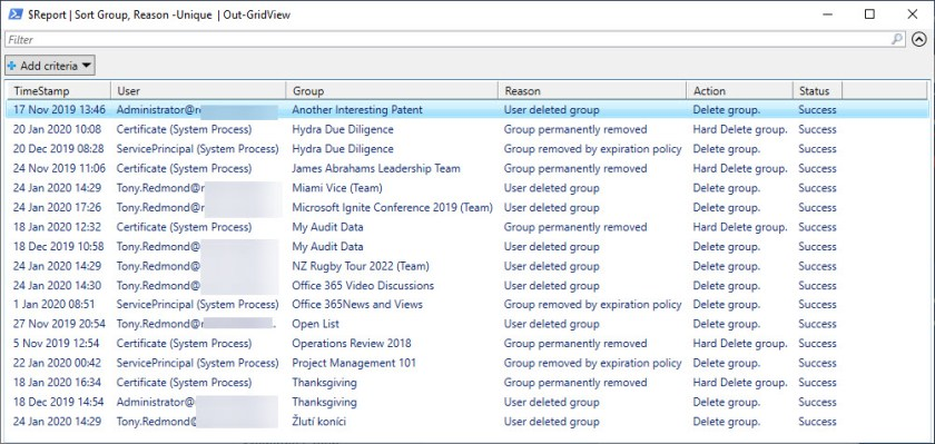 Out-GridView shows group deletion records