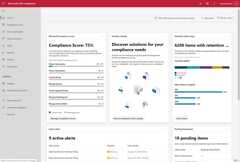The Microsoft 365 Compliance Center