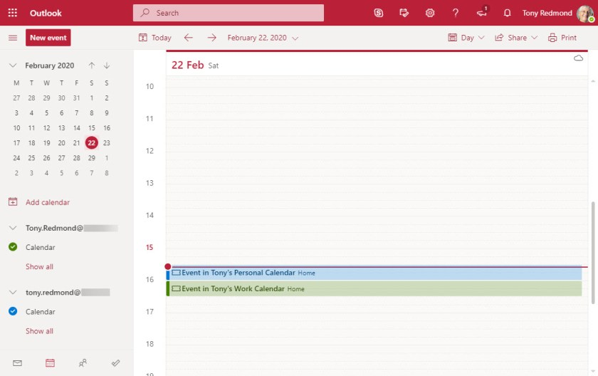 Personal and work events shown in the OWA calendar