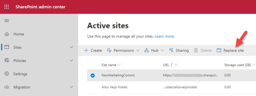 The Replace site option in the SharePoint Admin Center