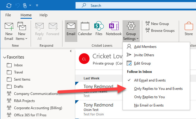 Changing the Follow in Inbox settings for a group through Outlook