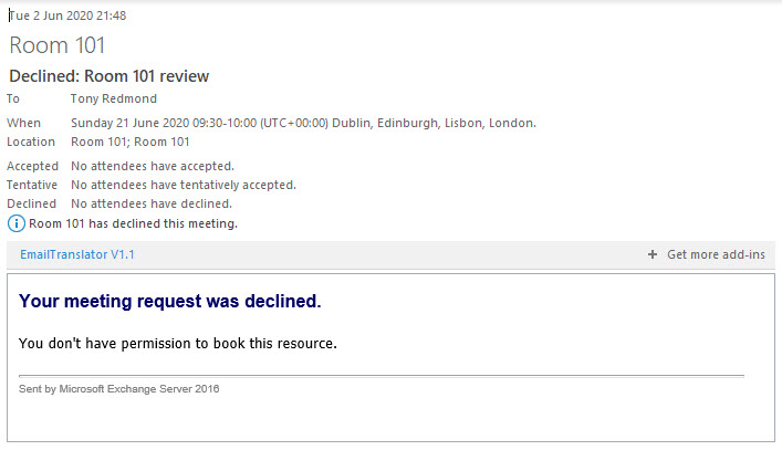 The Booking Assistant turns down a room booking request