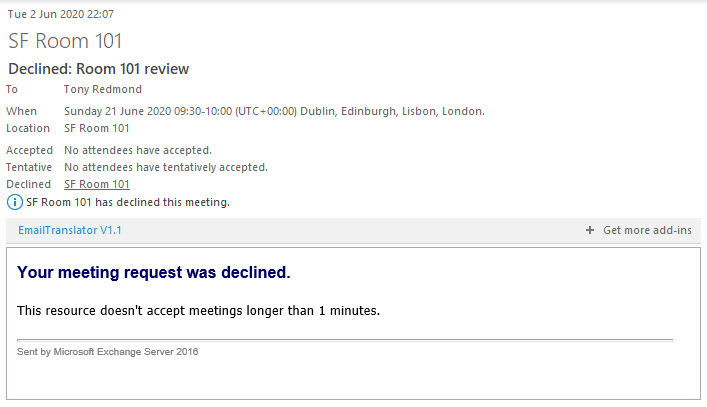 A booking request is declined because it exceeds the maximum time slot