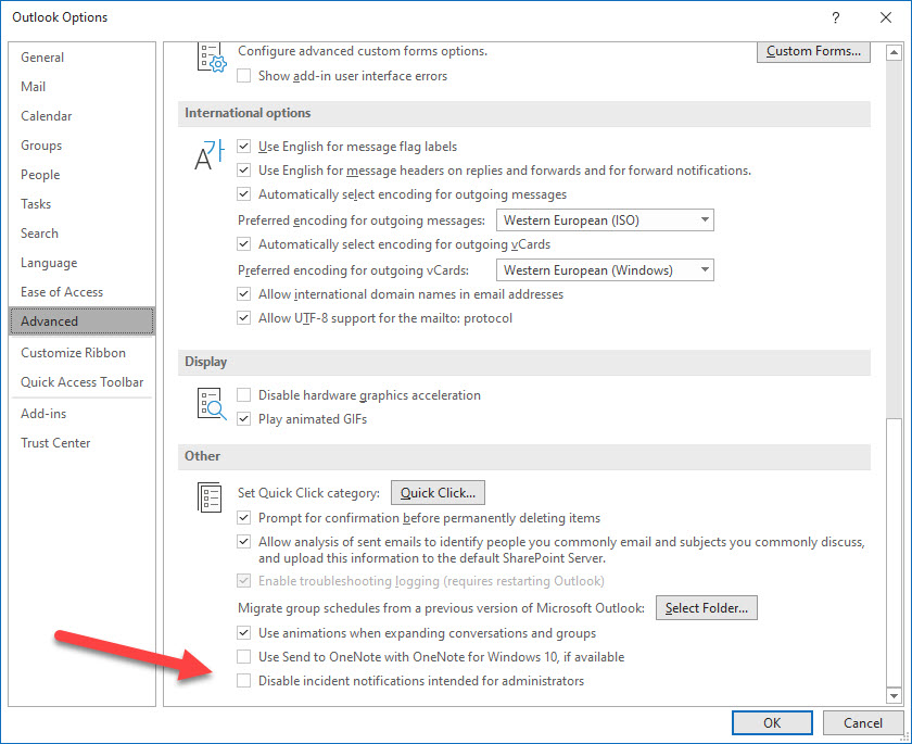 Outlook setting to disable admin notifications