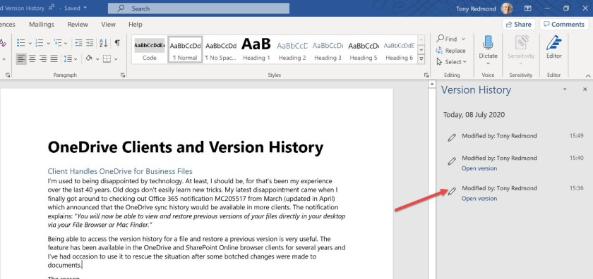 Access to file versions in Word