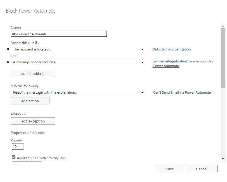 Exchange Online mail flow rule to block all messages sent by Power Automate