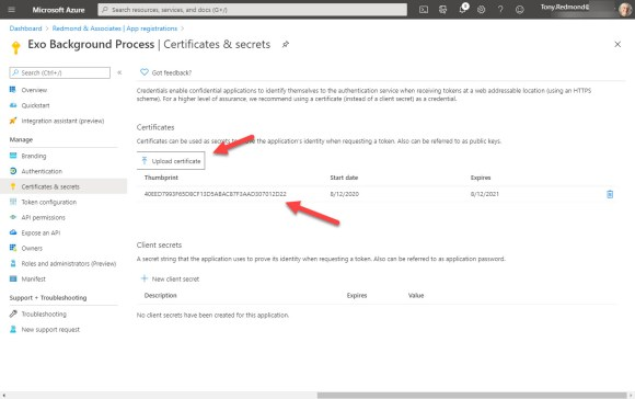 Importing the self-signed certificate into the registered Azure AD app