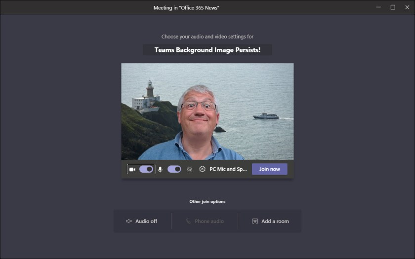 Testing a persistent background effect in Teams
