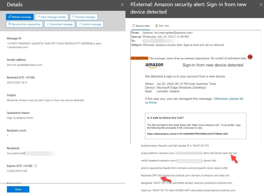 Is this Amazon message really high confidence phish?