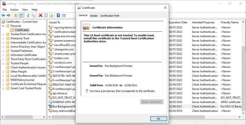 self-signed certificate created with the New-SelfSignedCertificate cmdlet