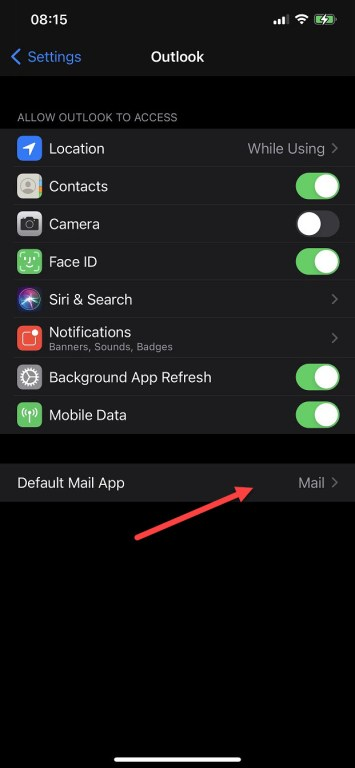 Outlook settings in iOS14