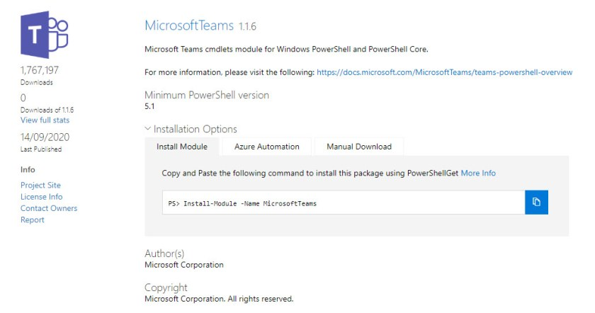 MicrosoftTeams 1.1.6 Module Available in the PowerShell Gallery