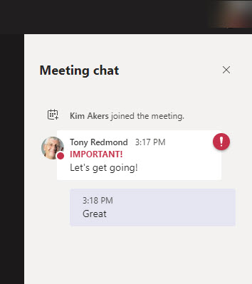 An organizer's message is posted to a breakout room chat