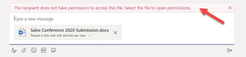 Teams detects that a chat participant won't be able to access a shared file