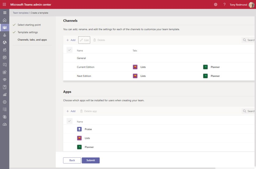 Adding channels and apps to a Teams template