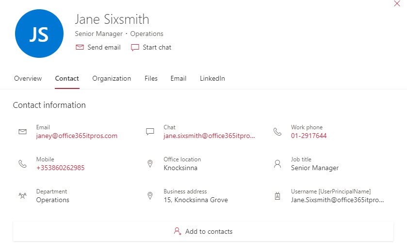 Directory information is shown in the Office 365 people card