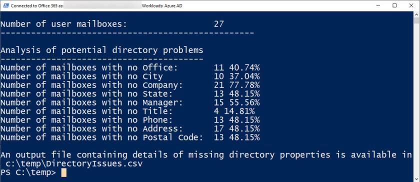 PowerShell finds some missing properties in Azure AD user accounts