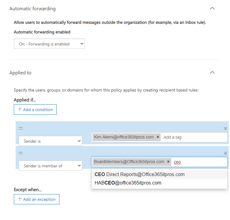 Configuring a custom outbound spam filter policy