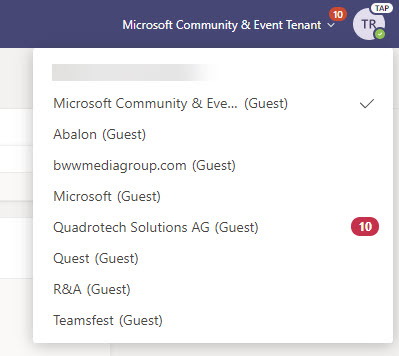 Teams lists the organizations an account can access