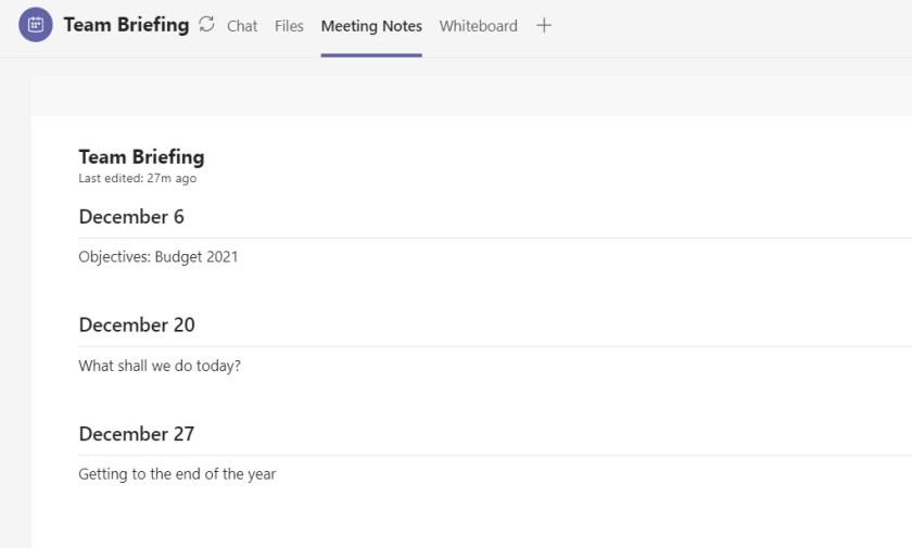 Meeting notes generated from multiple Teams meetings