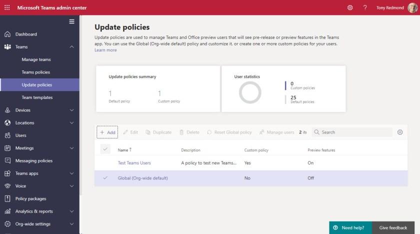 Teams update policies in the Teams admin center