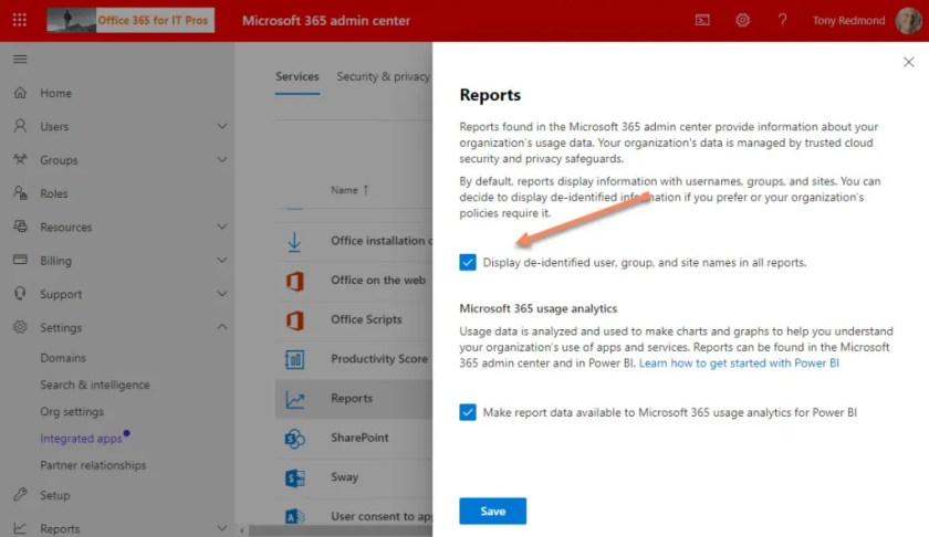 The option to anonymize usage report data in the Microsoft 365 admin center