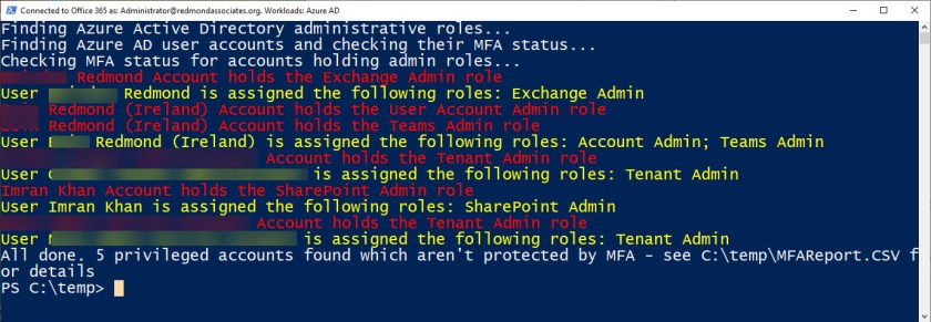 Viewing details of Azure AD accounts with administrative roles which are not MFA-protected