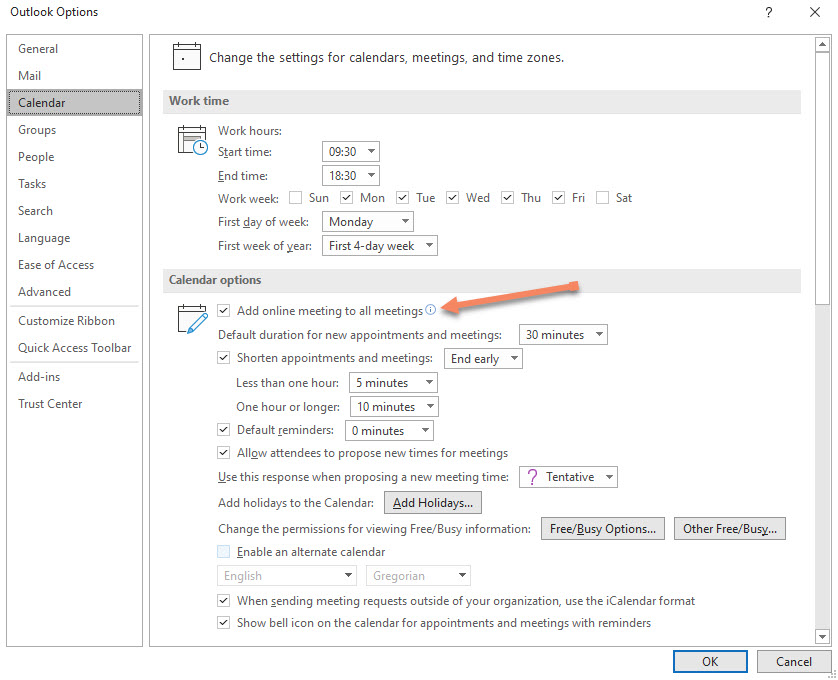The Outlook for Windows option to make online meetings the default