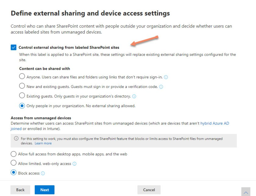 Selecting the external sharing settings for a sensitivity label