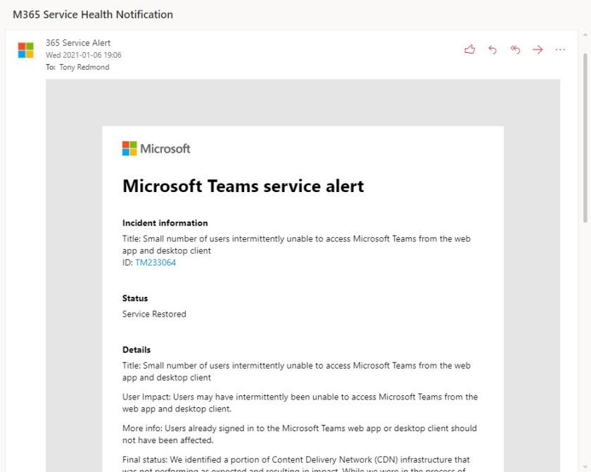 Email notification for a Microsoft 365 incident