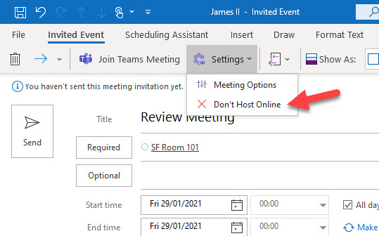 Remove Teams details from a meeting