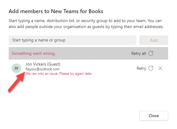 Error when adding the now-updated Azure AD guest account to a team's membership