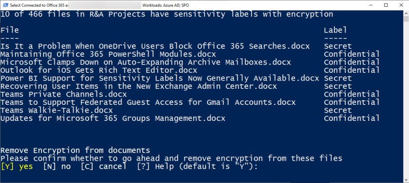 Reporting the protected files found in a folder in a SharePoint Online document library
