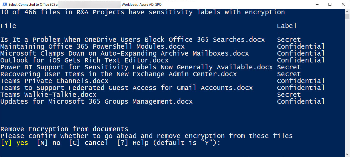 How to Decrypt SharePoint Online Documents Using PowerShell and the Graph API