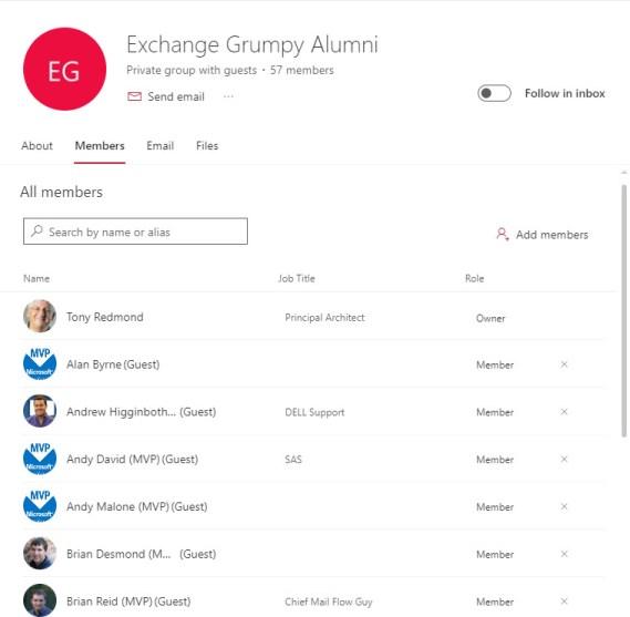 The Manage group membership UI in OWA