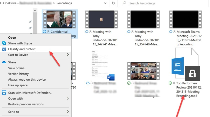Classify and protect a Teams meeting recording stored in OneDrive for Business
