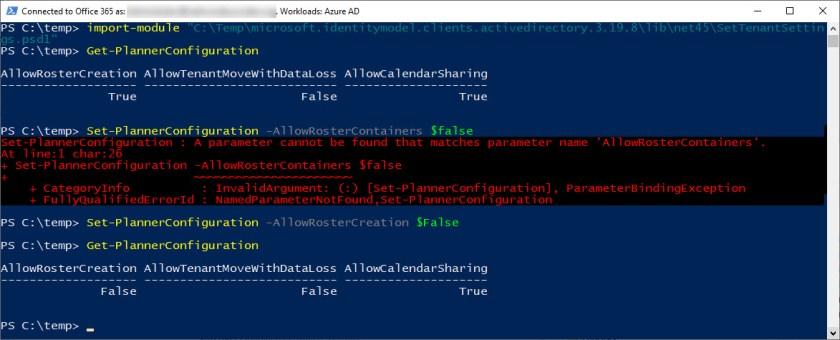 Running Planner's awful PowerShell cmdlets to disable roster containers