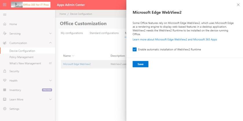 Controlling Edge WebView2 deployment