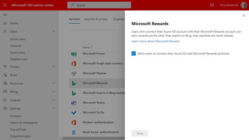 Microsoft 365 admin center control for Microsoft Rewards