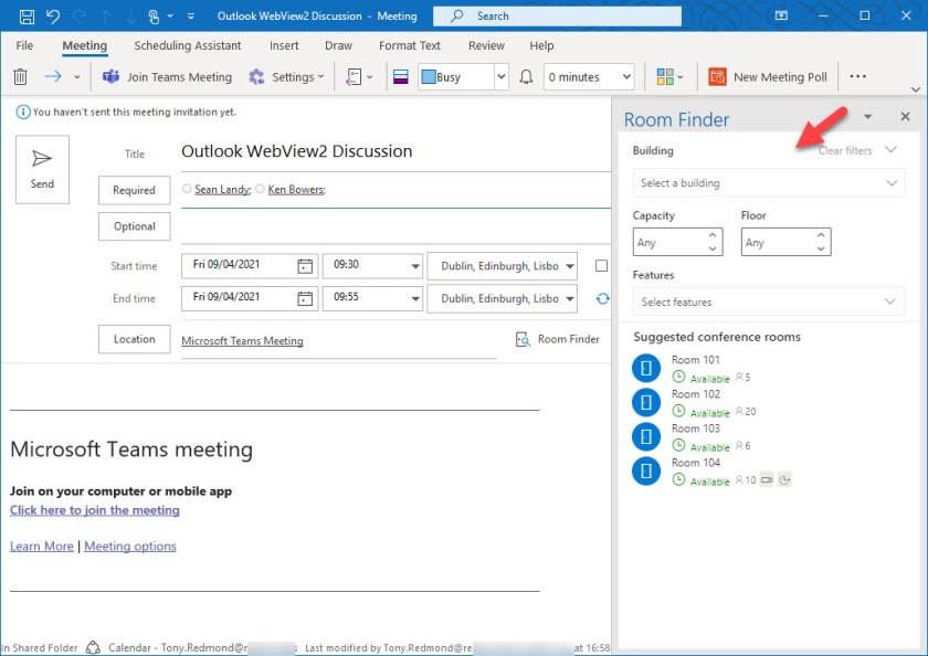 The Room finder as used in Outlook desktop