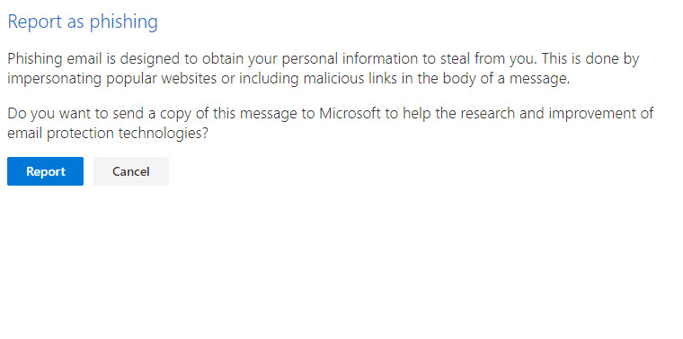 Reporting a phishing message to Microsoft